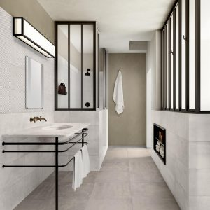 Metallic Tiled Bathroom - Materia Nacre Floor and Materia Opal Garage Wall Feature
