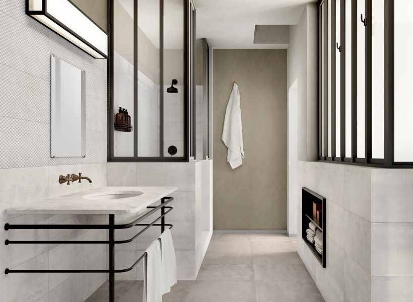 Mettalic Tiled Bathroom - Materia Nacre Floor and Materia Opal Garage Wall Feature