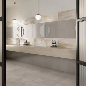 Bathroom Tiles - Materia Reflex Floor and Materia Gold Wall