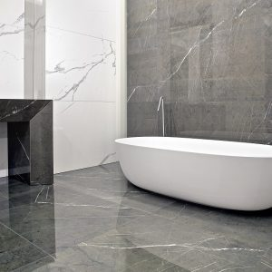 Porcelain Tile Bathroom - Marmoker Statuario Grigio & Grafite