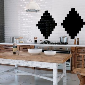 Kitchen Splashback Tiles - White Bevelled Subway Tiles
