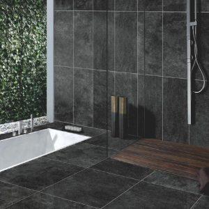 Black Porcelain Stone Look Tiles