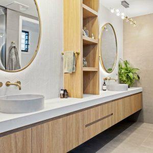 Luxury Bathroom - Chevron Vanity Splashback - Papyrus Pearl