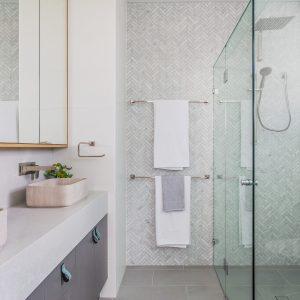 Carrara Marble Herringbone Mosaic