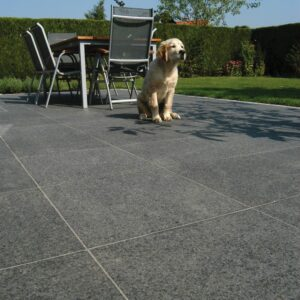 Outdoor Tiles - Jet Black Granite Flamed