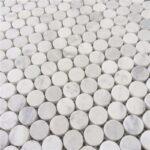 Carrara Marble Honed Penny Round Mosaics